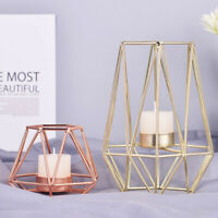 Hot Nordic Wrought Iron Geometric Candle Holders Home Decoration Metal Crafts UK