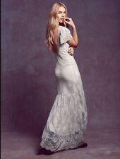 Rare Free People Gray Sophia Lace Wedding Gown Maxi Dress Size Medium $500.00