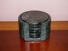 """Complete set of 7, vintage, green marble, cork bottom coasters with holder 4"""" D"""