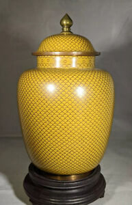 Rare Antique Chinese Cloisonné Fish Scale Style Yellow Urn/Vase