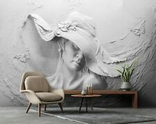 Vlies Fototapete 3D EFFEKT Frau Schmetterlinge Skulptur Steinoptik TAPETE Beton