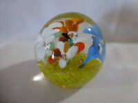 Vintage Blown Glass Floral Paperweight  # 764