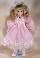 "Collector's Porcelain Doll 16"" Pink Dress Blue Eyes Blond Hair"
