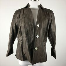 Kate Hill womens blazer jacket size 6P 3 button brown 3/4 sleeves unlined