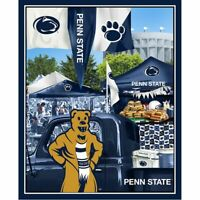 "Penn State Nittany Lions Cotton Fabric Panel w Tailgating Mascot-43"" x 36"""
