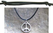 Peace Halskette Anhänger Hippie Surfer Frieden Schmuck Leder schwarz braun Kette