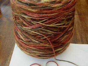 Large cone double knitting yarn multi random autumn colours with wool 760g
