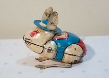 Old 1950s Tin Japan Yone Hopping Dressed Bunny Rabbit - Wind by his Ears