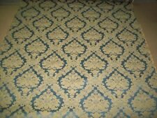 Damask Upholstery Fabric Material Antiques by the metre Blue & Gold (7)