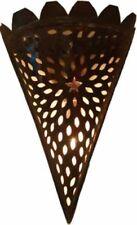 Wall Lamp Shade, Hand pierced Triangle metal Moroccan - H34 W24 D10 cm