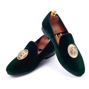 Men Formal Shoes Green Slip On Velvet Loafers With Animal Buckle