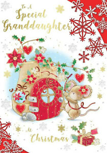 """Cute Mouse Decorating Flower Pot  """"GRANDDAUGHTER"""" Christmas Card"""