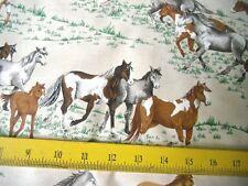 SALE VIP Fabrics Horses Black Brown Grey White on Grass Tan Background 4 Pillows