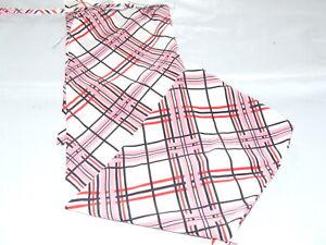 Ecotak Lycra Rugless Tie in Tail Bag - White pink black check shetland Ecotak