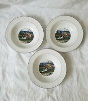 "epoch Exclusives ""PIONEER BAY"" RIMMED SOUP or CEREAL BOWLS ~ Set of 3"