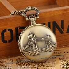 London Bridge Pocket Watch Necklace Xmas Father Dad Son Husband Men Gift For Him