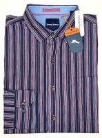 NWT $125 Tommy Bahama Purple Blue Striped Long Sleeve Shirt Mens S M L XL XXL