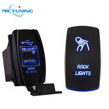 Dual USB Socket Charger 5Pin Push Rocker Switch LED ROCK LIGHTS Laser f JEEP SUV