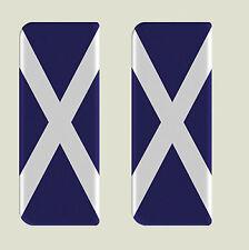 2x Scotland Full Flag - Gel Domed Number Plate Badges/Decals 107x42mm