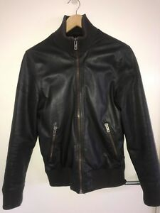 Jack London Dark Brown Fitted Leather Jacket Size SM