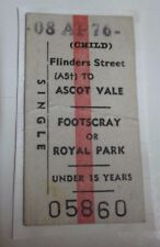 Melbourne Train Child's Ticket - Flinders Street to Ascot Vale/Footscray - 1976