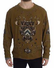 NWT DOLCE & GABBANA Green Roman Shield Silk Pullover Runway Sweater s. IT48 / L