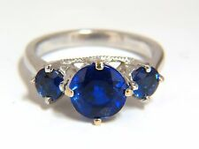 Natural Kyanite Sapphire diamonds ring 3.82ct. vivid blue 14kt+