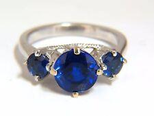 Natural Kyanite Sapphire diamonds ring 3.82ct. vivid blue 14kt