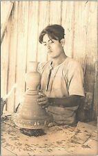 "RPPC Oaxaca Mexico ""Un Alfarero"" Native Pottery Maker 1930s era"