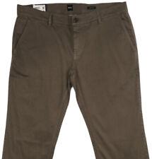 HUGO BOSS SCHINO Casual Pants 38x32 38 32 Reg Fit Brown New Flat Front $128