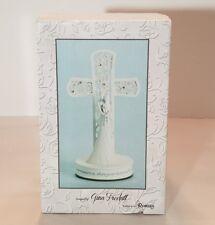 """White Wedding Cake Topper Bride & Groom Cross 7.5"""" Gina Freehill Design # 77378"""