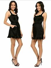Nanette Lepore Size 4 NEW $398 Rhumba Black Ruffled Button Front Romper