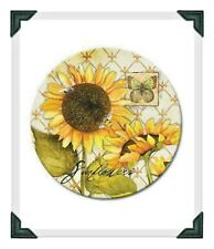 """Counter Art 13"""" Glass Lazy Susan Serving Plate,SUNFLOWER NIB"""