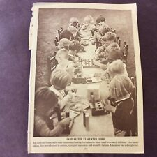 Vintage Book Print - Evacuated Children - WWII - 1940s