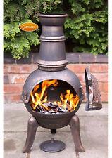 Granada medium chimenea 90cm high garden patio heater fire woodburner cast iron