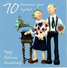 70th Wedding Anniversary Card From the One Lump or Two Collection Platinum anniv