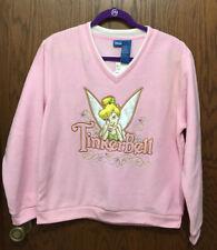Disney Pink Fleece Tinkerbell V Neck Pullover Size Large NEW
