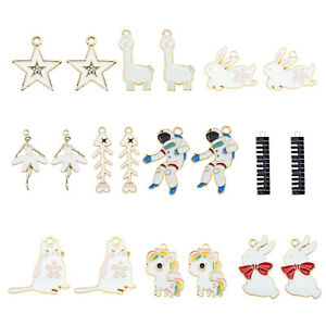 20Pcs Enamel Assorted Mixed White Series Oil Drip Charms Pendant DIY Findings