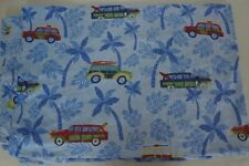 Pottery Barn Kids Twin Duvet Cover Cars Vehicles Palm Trees Blue NEW
