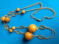 Vintage Collier Bakélite Grosses Boules Ambre / Amber Bakelite Beads Necklace