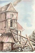 AQUARELLE COULEUR VIEUX MOULIN / Moulin de Saint Maxent ( Somme)