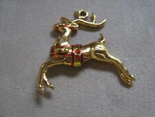 HMK Gold Tone Christmas Holiday Reindeer Pendant
