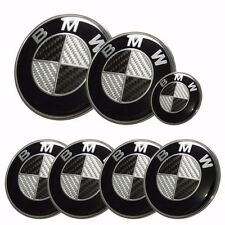 7x BMW emblem SET Carbon Fiber Black/White Emblem Logo For BMW e60 e90 e46 f10 a