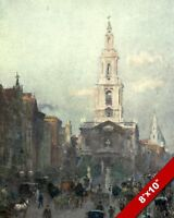 ST MARY LE STRAND CHURCH 1900'S OLD LONDON ENGLAND BRITISH ART REAL CANVAS PRINT