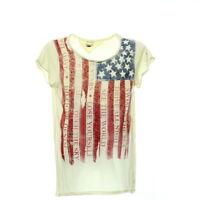 Hilfiger Denim Damen T-Shirt Gr. XL USA Print Kurzarmshirt Freizeit