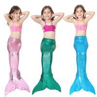 3Pcs/Set Girl Kids Mermaids Tail Swimmable Bikini Bathing Suit Fancy Costume AF