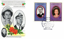 St VINCENT BEQUIA 1987 QUEEN 40th WEDDING ANNIVERSARY $2.50 & $5 FIRST DAY COVER