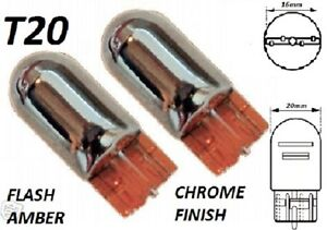 T20 W21W SILVER CHROME Car Bulbs Indicator Lights flash amber for Daihatsu