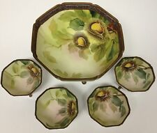 Nippon Moriage Nut Bowl Dish Set 5 Pc Serving Cups Footed Vintage Chestnuts