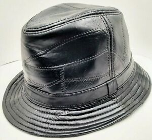 Classic 100% Genuine Black Leather Textured Bucket Hat One Size Fits All
